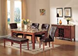 Cheap ACME Bologna Brown Marble Top Dining Table, Cherry Finish