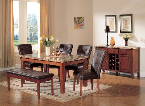 ACME Bologna Brown Marble Top Dining Table, Cherry ()