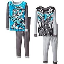 Mattel Big Boys' Max Steel  4 Piece Cotton Pajama Set, Sizes 4-8