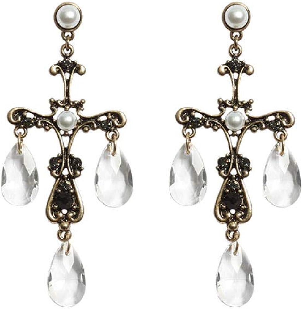Pendientes, Agujas De Plata 925, Perlas Barrocas Vintage, Piedras Preciosas De Cristal De Cristal, Cruces De Aleación, Pendientes De Mujer