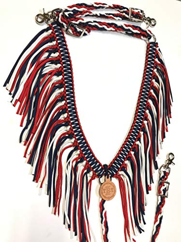 fringe breast collar paracord horse tack red white and blue