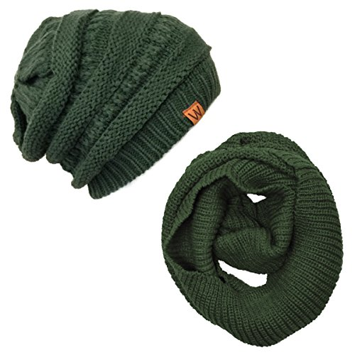 (Allydrew Thick Knitted Winter Infinity Scarf and Slouchy Beanie Set, Hunter Green)