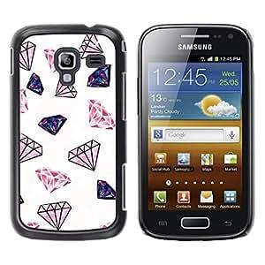 FECELL CITY // Duro Aluminio Pegatina PC Caso decorativo Funda Carcasa de Protección para Samsung Galaxy Ace 2 I8160 Ace II X S7560M // Diamond Glitter Pink White Minimalist Jewels