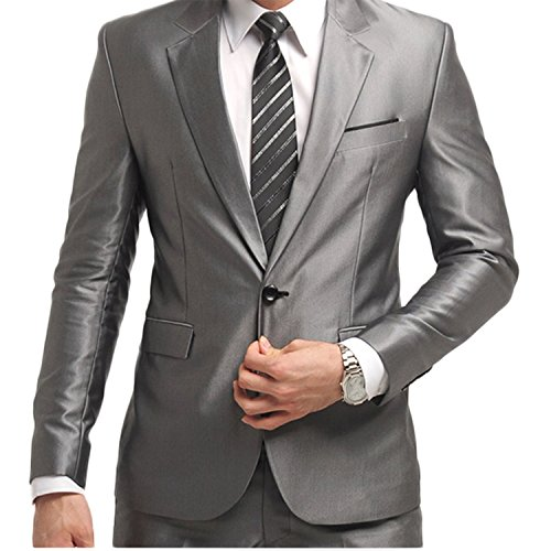 Men's One Button Formal 2-piece Suits Tuxedo Multi-color Slim Fit,Silver,X-Large