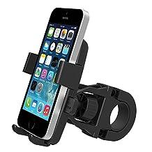 MsFeng One-Touch Mountain Bike Cell Phone Holder Handlebar Mount for iPhone 6/5s/5c/4s, Samsung Galaxy S5/S4, Google Nexus 5 - Bike's GPS Navigation Holder 360 Degree Rotation Anti-Skip Anti-Shaking