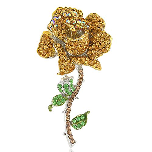 Brown Silver Brooch - EVER FAITH Women's Austrian Crystal Blooming Rose Flower Leaves Prom Brooch Brown Silver-Tone