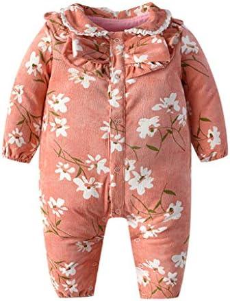 新生児幼児の赤ちゃん冬暖かいジャンプスーツ花柄長袖ボタンロンパースジャンプスーツ服ポケットピンク