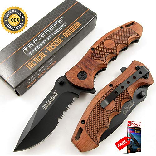SPRING ASSISTED FOLDING POCKET Sharp KNIFE Tac-Force Black Blade Wood Tactical Serrated Combat Tactical Knife + eBOOK by Moon -