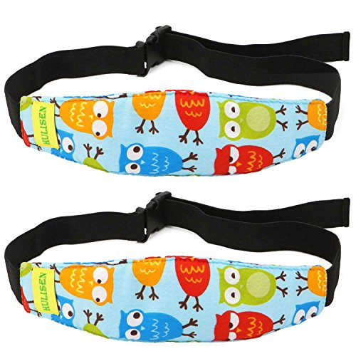HULISEN 2Pcs Infants and Baby Head Support Band, Carseat Straps Covers, Slumber Sling, Toddler Car Seat Sleep Positioner (Blue) from HULISEN