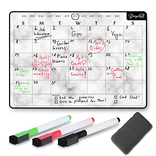 Designorize Marble Dry Erase Magnetic Calendar for Refrigerator with Markers and Eraser (5-Piece Set) Daily, Weekly, Monthly Organizer | Stain Resistant Surface | Home and Office Organization by Designorize (Image #6)