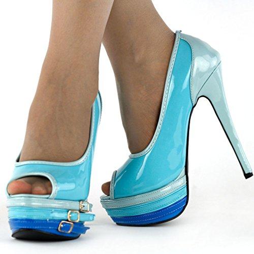 Show Story Sexy Peeptoe Strappy schnalle Platform hohe Heel Stiletto pumpen,LF80823 Blau