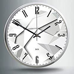 """Artistry Clock-Modern Decorative 12"""" Silent Non-Ticking Wall Clock And Fashionable Style Design Quartz Round Clock With Stoving Varnish Finished Metal Frame,Battery Operated(White Jigsaw, Silver)"""