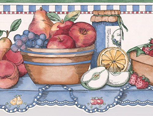 Fruit Muffin Berries Kettle Jam on Kitchen Table Kids Wallpaper Border Retro Design, Roll 15' x 9