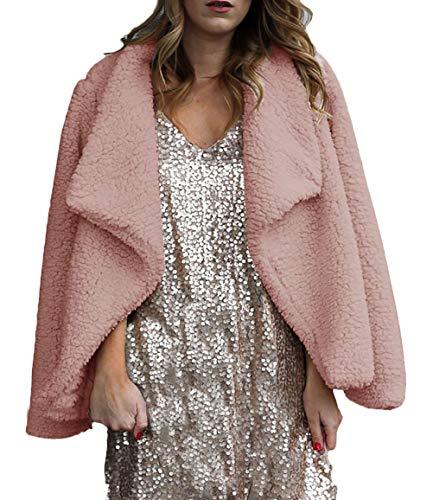 Otoño Manga Moda Mujer Outerwear Termica Polares Solapa Larga Outdoor Invierno De Chaquetas Pink Casuales Espesar Ropa Vellón Prendas Elegantes Abrigos Exteriores S8gfnx