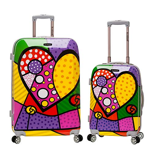 Rockland 2 Piece Upright Luggage Set, Heart, One -