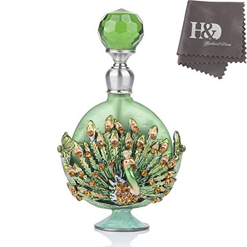 YUFENG Pewter Peacock Figurine Perfume Bottle Heart Shaped Jewelry Frosted Green Mini Scented Fragrance - Figurine Pewter Heart