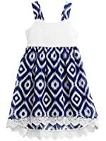 Youngland Big Girls Navy Print 7 to 16 Dress