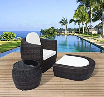 Outsunny 3 PCs Outdoor Rattan Garden Furniture Set Wicker Chair Sofa Sun  Lounger Footstool Side Table. Outsunny 3 PCs Outdoor Rattan Garden Furniture Set Wicker Chair