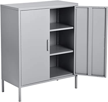 Amazon Com Furniturer Double Door Locker Metal Cabinet With 3 Shelves For Living Room Bedroom Office Kitchen Cupboard Office Products