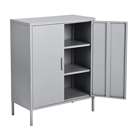 . HouseinBox Double Door Locker Modern Style Metal Cabinet with 3 Shelves for  Living Room  Bedroom and Office Grey