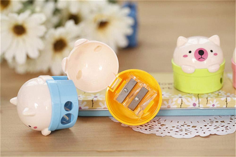 4 temperamatite con serbatoio a 2 fori per bambini a forma di orso Hinleise colore casuale