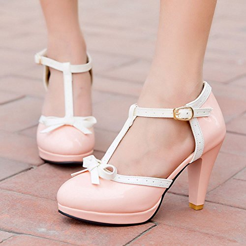 Zanpa Ladies Clasico T Strap Tacon Zapatos D Orsay Sandalias Rosa