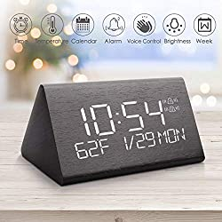 Fane Digital Alarm Clock, Adjustable Brightness Voice Control Desk Wooden Alarm Clock, Large Display Time Temperature USB/Battery Powered for Home, Office, Kids