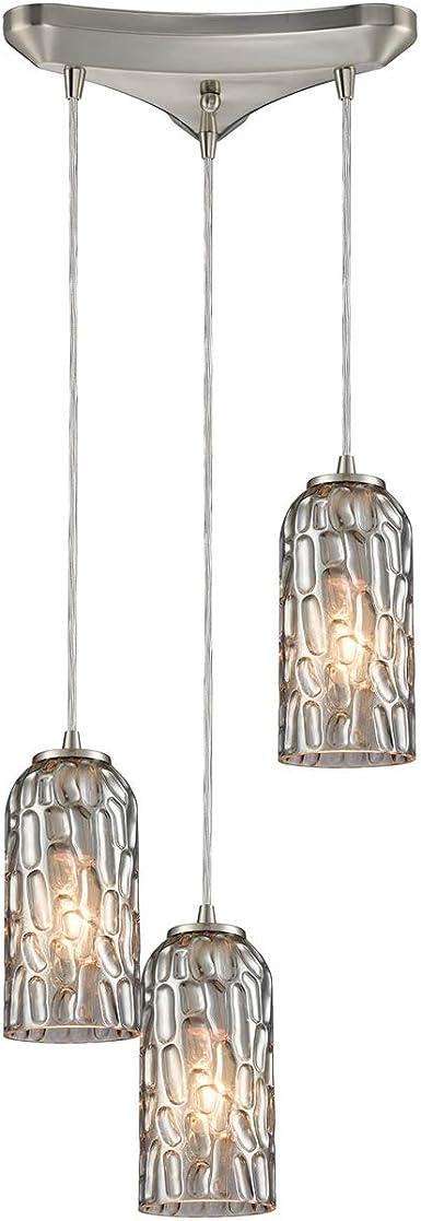 ELK Lighting 10343//3 Kersey Collection 3 Light Chandelier 8 x 10 x 10 Satin Nickel