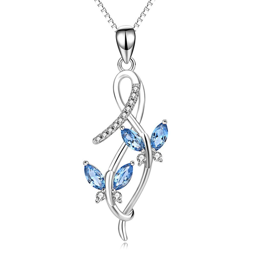TTLElife BBYaki Blue Gemstone Butterfly Pendant Necklace 925 Sterling Silver Jewelry for Women and Girls