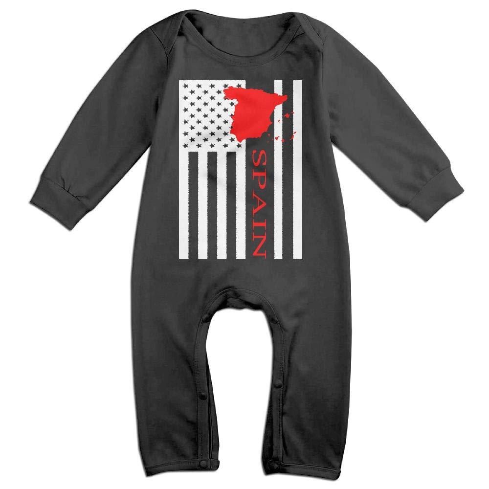 UGFGF-S3 American Flag Spain Map Long Sleeve Infant Baby Unisex Baby Bodysuit for 6-24 Months Bodysuit