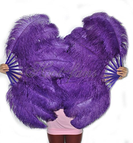 A pair of Dark Purple Single Layer Ostrich Feather Fan 24