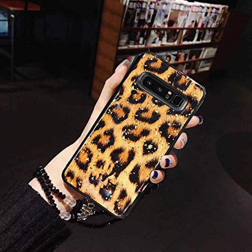 KAPADSON for Samsung Galaxy Note 8 Hot Bling Leopard Epoxy Glitter Back Case Flexible Cover Crystal Strap Case with Holder -Leopard