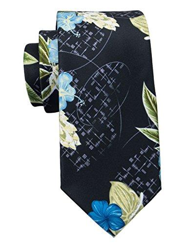 Barry.Wang Black Ties Floral Neckties Silk Tie Fashion Necktie Wedding Party