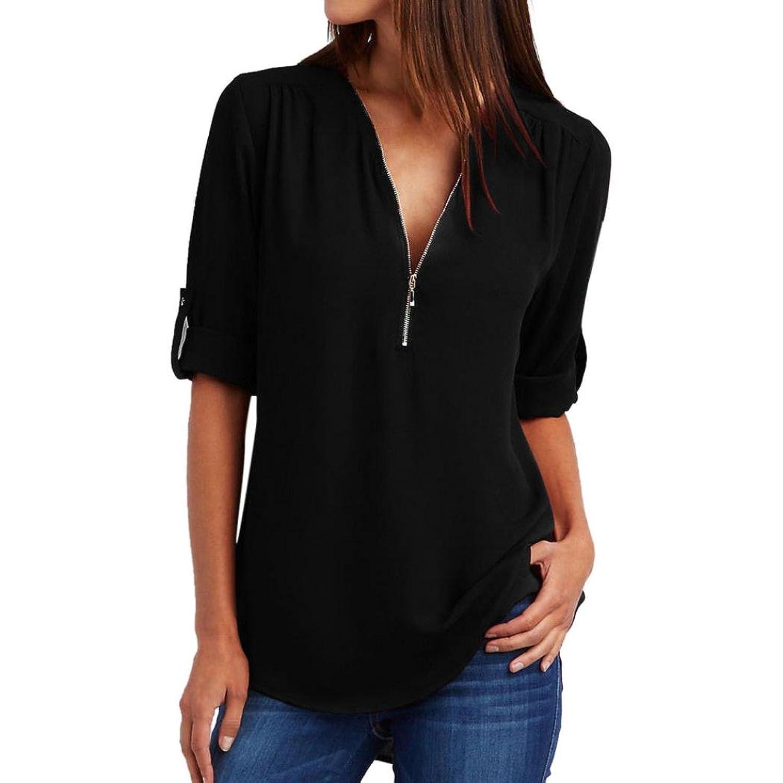 5fcd331ea97c17  Material  Chiffon- Fashion Women Casual Tops T-Shirt Loose Top Long Sleeve  Blouse long sleeve v neck blouse womens v neck long sleeve ruffled shoulder  ...