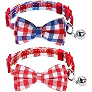 Milliepet Cat Collars Breakaway Bowtie with Bell Adjustable Safety Fashionable Cute Plaid Kitten Collars 2pack