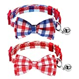 Milliepet Cat Collars Bowtie Bell Breakaway Adjustable Safety Fashionable Cute Plaid Kitten Collars 2pack