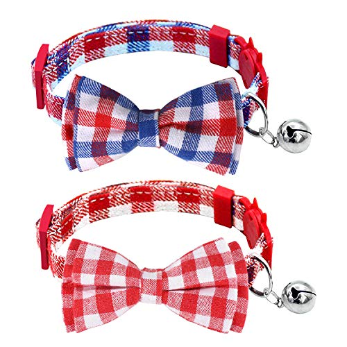Milliepet Cat Collars Breakaway Bowtie with Bell Adjustable Safety Fashionable Cute Plaid Kitten Collars 2pack ()