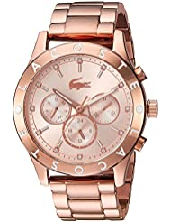 Lacoste Womens CHARLOTTE Quartz Stainless Steel Casual Watch, Color:Rose Gold-Toned (Model: 2000964)