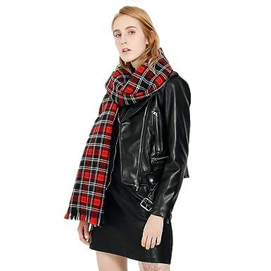 9813c80ab02c iShine Femme Écharpe Classique Plaid Rouge Noir Mode Écharpe en Fausse  Fourrure Chaud Écharpe Style Automne