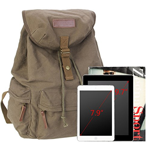koolertron Canvas Vintage DSLR SLR Camera Shoulder Case Backpack Rucksack Bag With Waterproof Rain Cover For Sony Canon Nikon Olympus Have Special Position For Notebook Computer Laptop (Green)