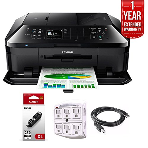 Canon PIXMA MX922 Wireless Inkjet Office All-In-One Printer + 1 Year Extended Warranty with Genuine Canon Ink Bundle Includes PGI-250 Pigment Black XL Ink Tank + Outlet Adapter + Printer Cable