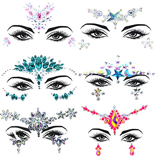 Diy Jester Halloween Costume (6 Set Face Gems, Rhinestone Mermaid Face Jewels Stickers Face Glitter Eyes Face Body Temporary Tattoos, Crystal Tears Face Stickers Decorations Fit for Masquerade Festival)