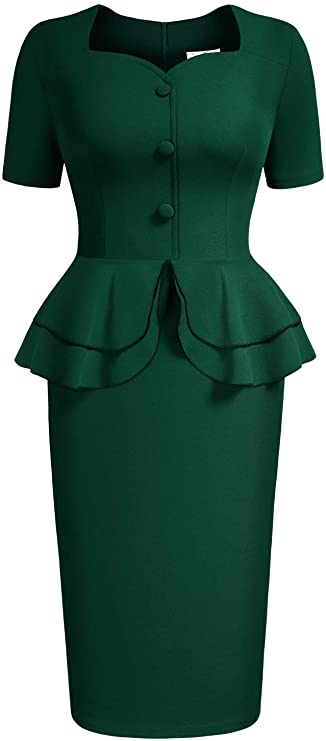 1940s Dress Styles AISIZE Women 1940s Vintage Button Elegant Sweetheart Peplum Prom Dress $34.99 AT vintagedancer.com