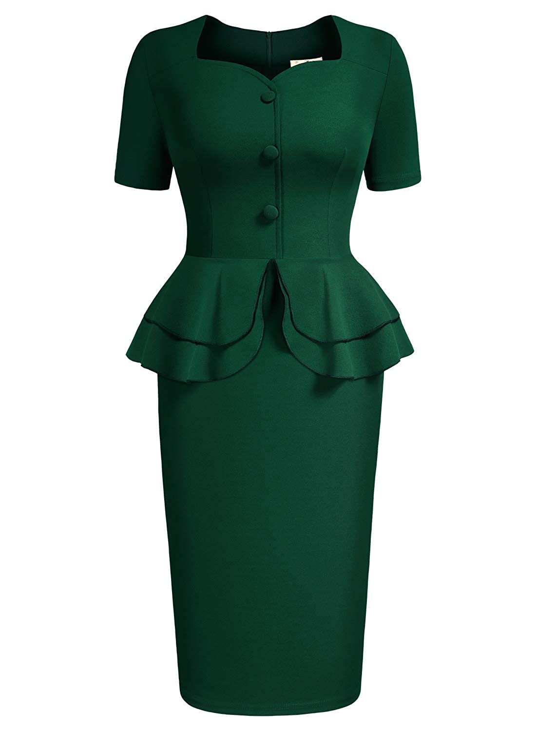 Swing Dance Clothing You Can Dance In AISIZE Women 1940s Vintage Sweetheart Ruffles Peplum Dress $34.99 AT vintagedancer.com
