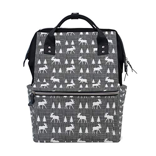- Moose Trot Vintage Grey Diaper Backpack Large Multi-Function Travel Backpack Mummy Nursing Bag