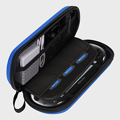 AKWOX Waterproof Travel Carrying Protectove Case for PS Vita 1000, PSV 2000 with 8 Game Holders (Blue)