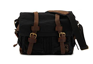 f64a47076fb8 Image Unavailable. Image not available for. Color  Sechunk Vintage Military  Leather Canvas Laptop Bag Messenger ...