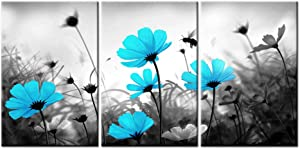 "sechars - 3 Piece Wall Art Set Black and White Blue Flower Picture Canvas Print Floral Landscape Painting Artwork for Modern Home Living Room Apartment Decor Framed Ready to Hang (16""x24""x3pcs)"