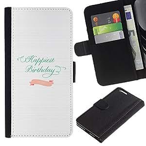 KLONGSHOP // Tirón de la caja Cartera de cuero con ranuras para tarjetas - Cumpleaños del trullo Líneas rosadas de papel blanco - Apple Iphone 6 PLUS 5.5 //
