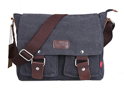 Genda 2Archer Canvas Hiking Traveling Satchel Messenger Bag, Black(New)